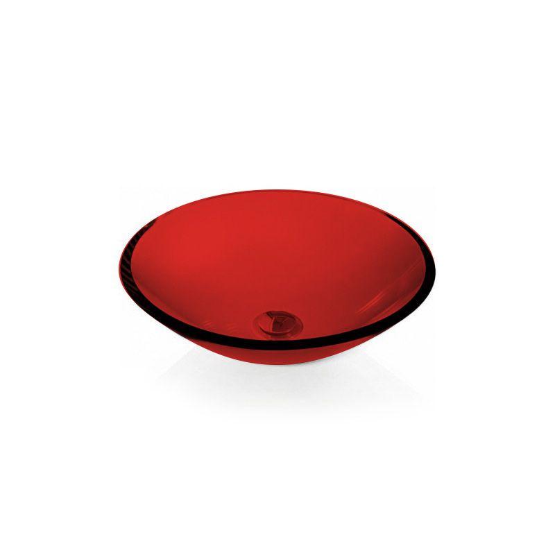 Cuba de Vidro Redonda Sem Aba 35cm 12mm Bergan Vermelho