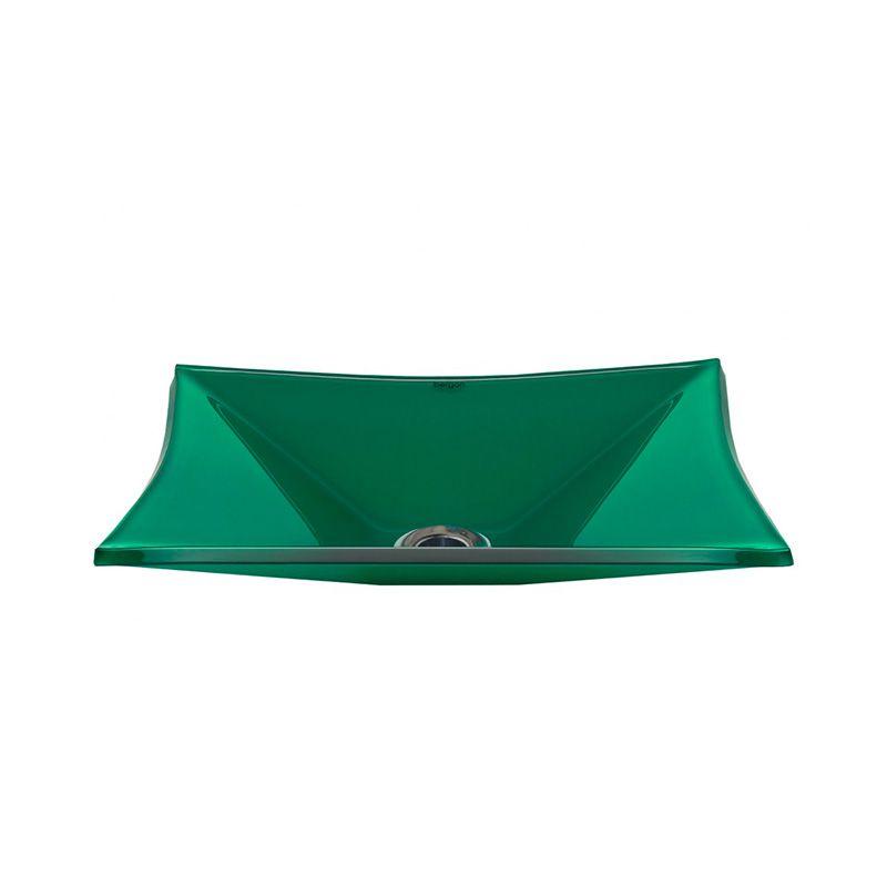 Cuba de Vidro Retangular Sulle 41x31cm 10mm Bergan Verde claro