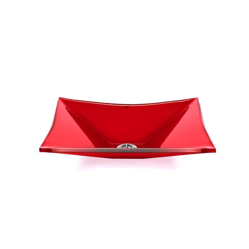 Cuba de Vidro Retangular Sulle 41x31cm 10mm Bergan Vermelho