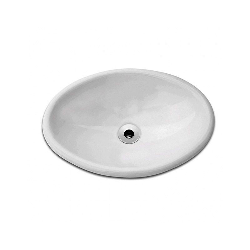 Cuba Oval Sobrepor 44x31cm - Celite Branco