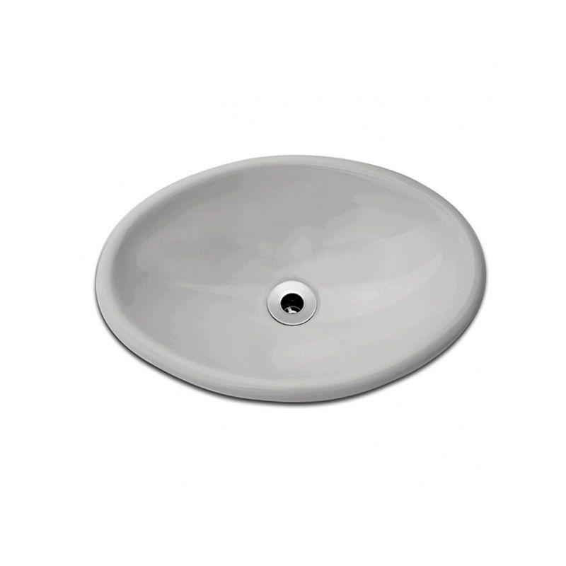 Cuba Oval Sobrepor 44x31cm Cinza Prata Celite