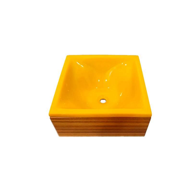 Cuba Poliéster Castanha 35.5X35.5X13.5cm Amarelo Natural Sicmol