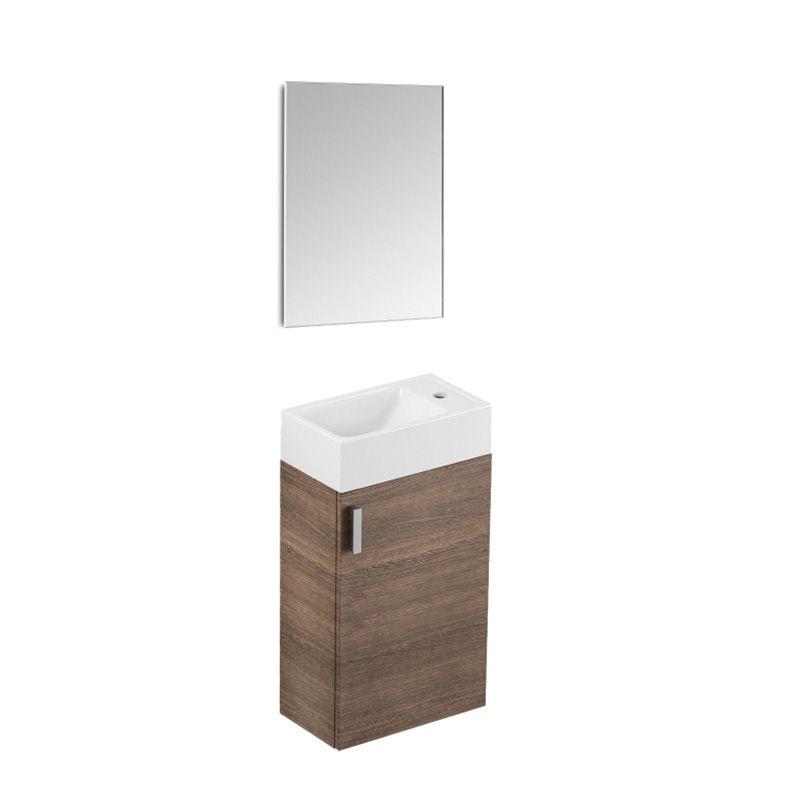 Kit Gabinete 1 Porta com Cuba e Espelho 40X22 Petit Wengue Celite