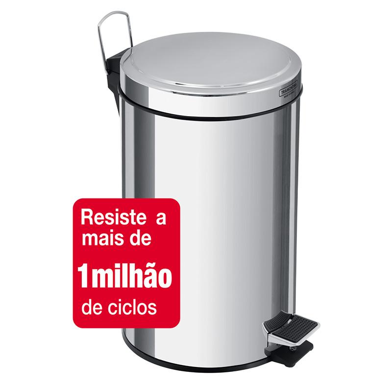 Lixeira Aço Inox Com Pedal Brasil 12L Tramontina