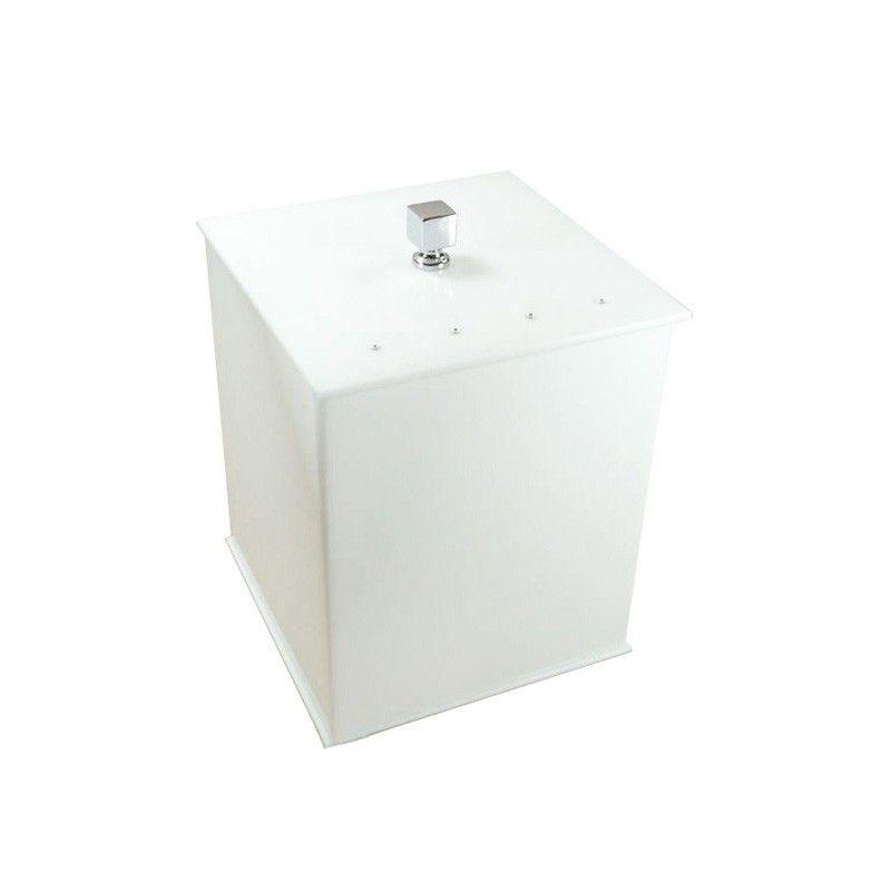 Lixeira Quadrada Com Strass Cristal Decor Branco