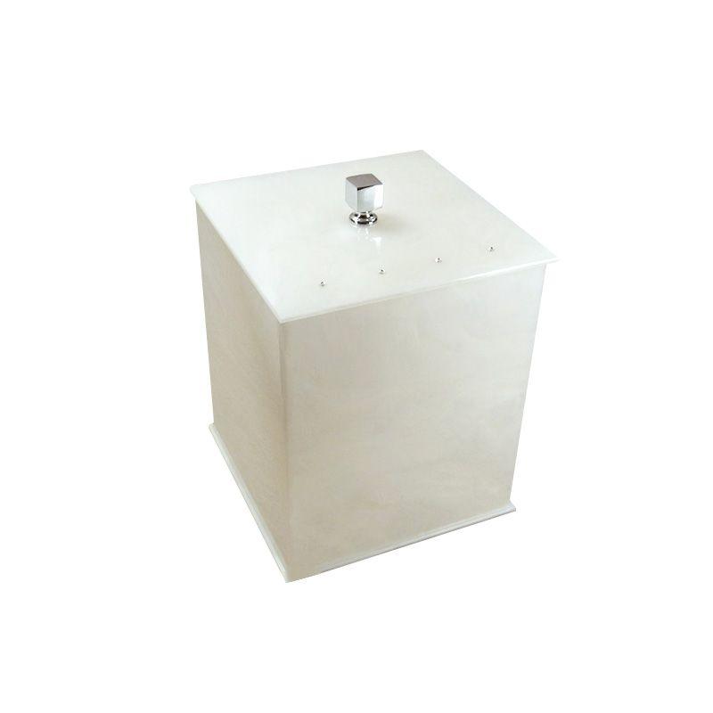 Lixeira Quadrada Com Strass Cristal Decor Pérola