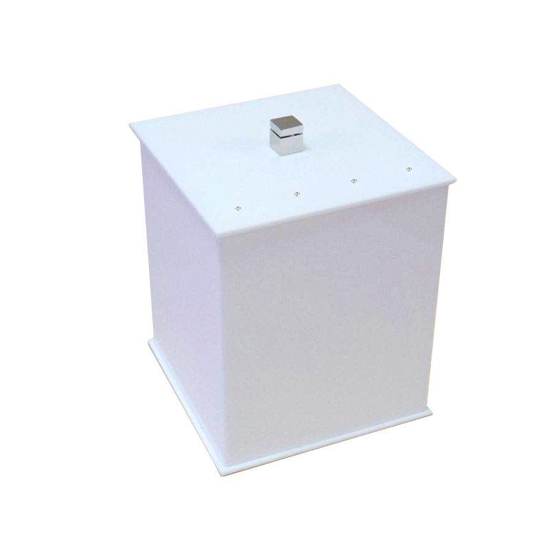 Lixeira Quadrada Com Strass Cristal Duo Decor Branco