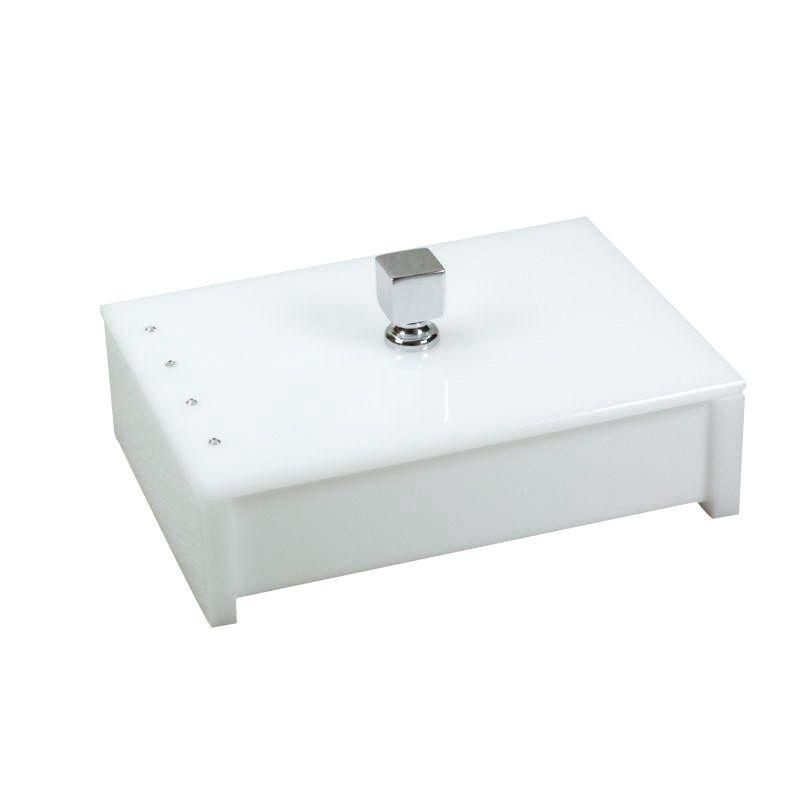 Porta Objeto Cristal Branco Decor