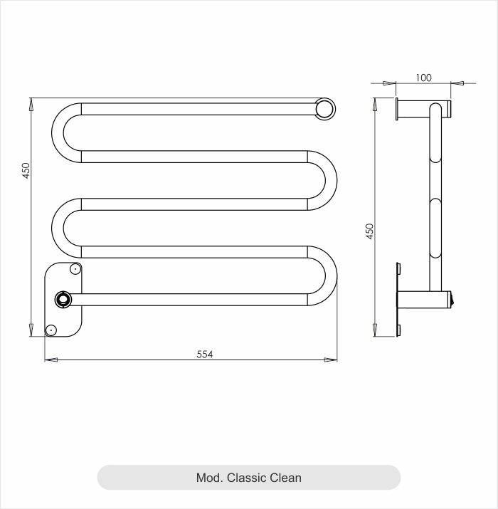 Porta Toalha Aquecido Cativa Classic Clean 127V 65W Inox