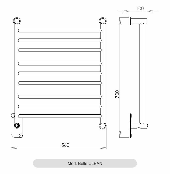 Porta Toalha Aquecido Conceito Belle Clean 127V 100W Inox