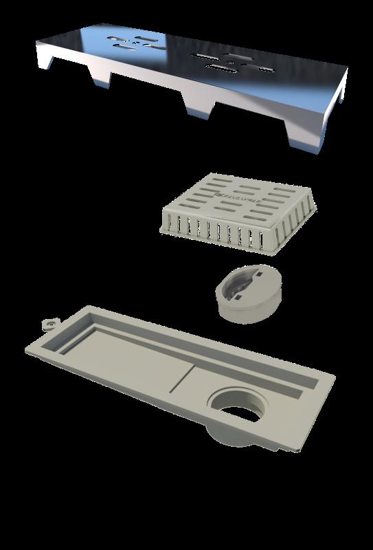 Ralo Linear Novii PVC 25cm Acabamento Abs Cromado Vazado Linear