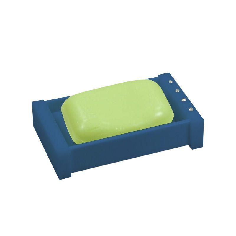 Saboneteira Caixinha Cristal Azul Acetinado Decor
