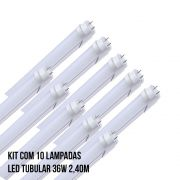 Kit com 10 Lampadas Led Tubular 36W 2,40M
