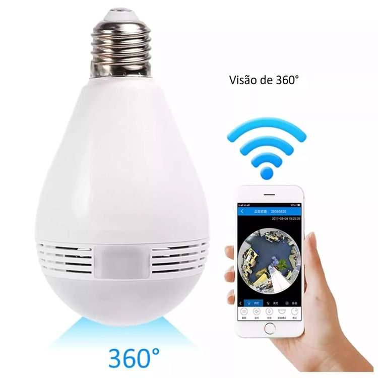 Camera Ip Vr Cam Lampada 360 Hd Panoramica Led Wi-Fi (Vr