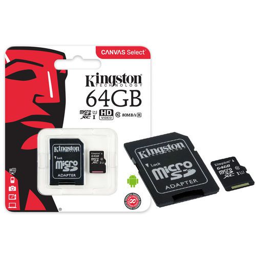 Cartao Memoria 64Gb Kingston Cl10 Micro Sdxc Adapt Sdcs| 64Gb