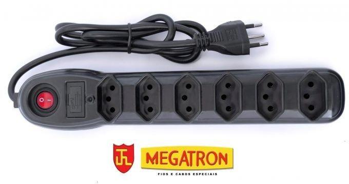 Filtro De Linha 6 Tomadas Bivolt Preto Megatron