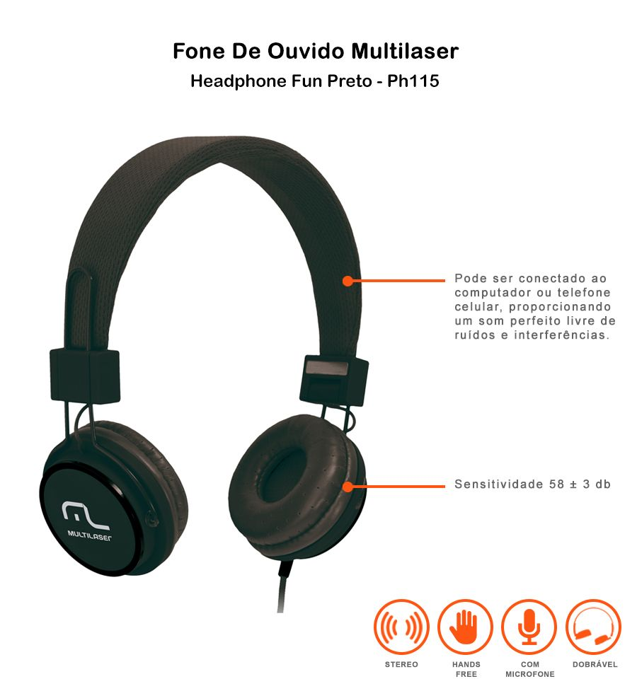 Fone De Ouvido Headphone Fun Multilaser Ph115 Preto