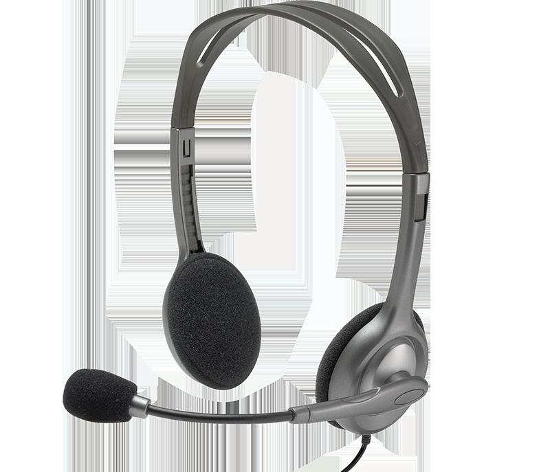 Fone De Ouvido Headset Logitech H110 C| Microfone Grafite