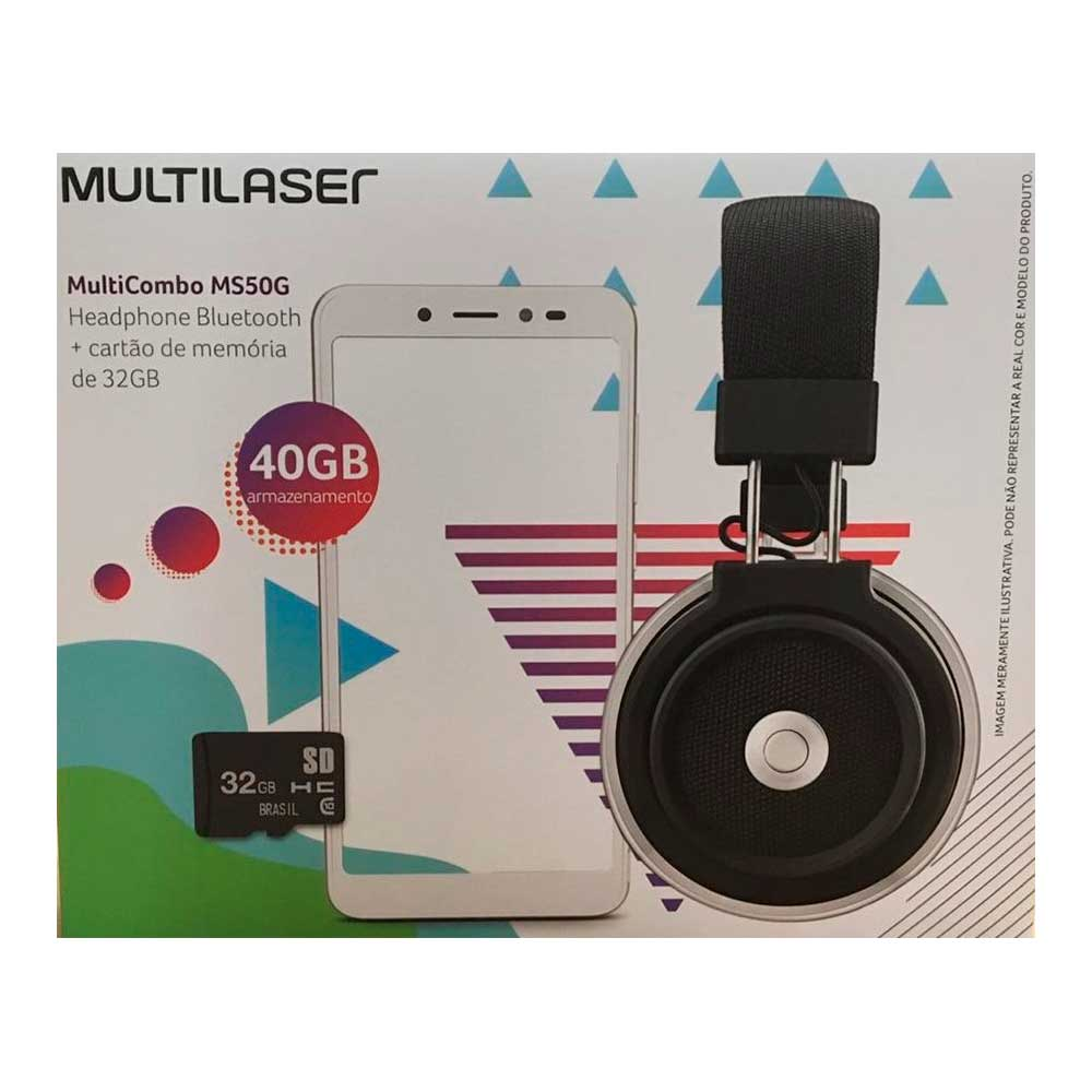 Kit Celular Multilaser Ms50X F1 Qc| 16Gb| 5,5| Preto+Fone Bluetooth+Sd32Gb Nb753