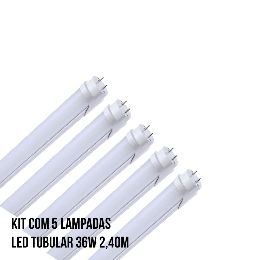 Kit com 5 Lampadas Led Tubular 36W 2,40M
