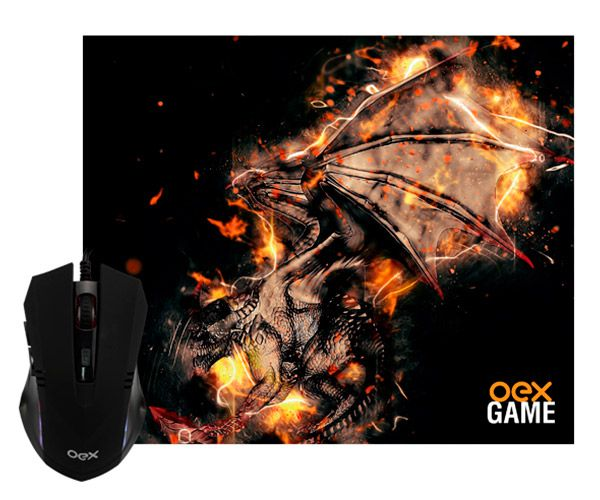 Mouse Gamer +  Mouse Pad Oex Mc102 Combo Arena Preto