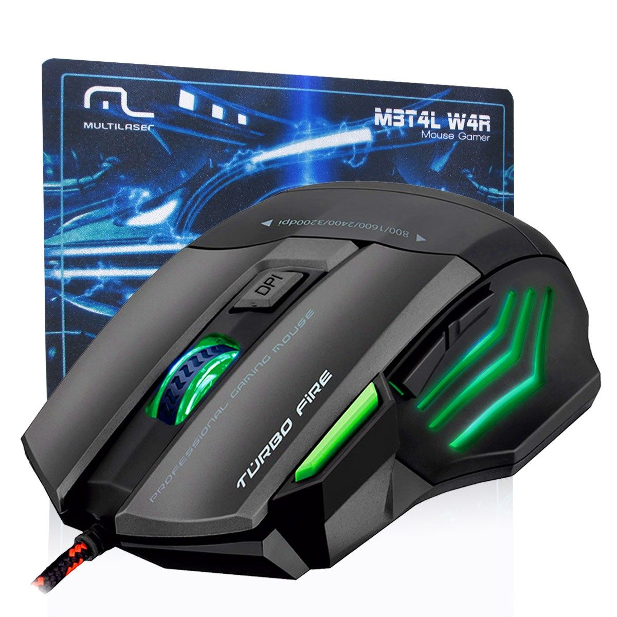Mouse Gamer Warrior 7 Botoes 3200 Dpi Preto Usb Mo207 Multilaser