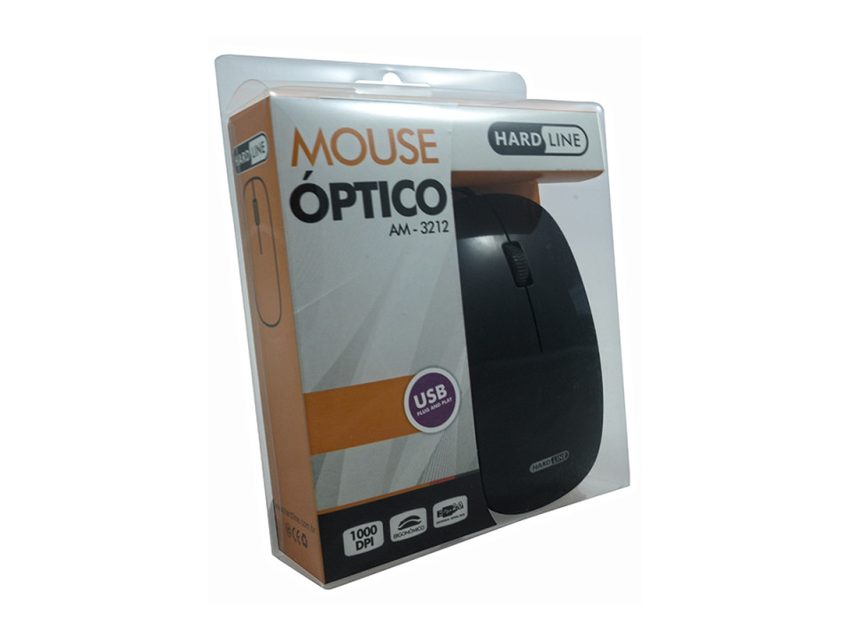Mouse Usb Ergonomico 1000Dpi Am-3212 Preto Hardline