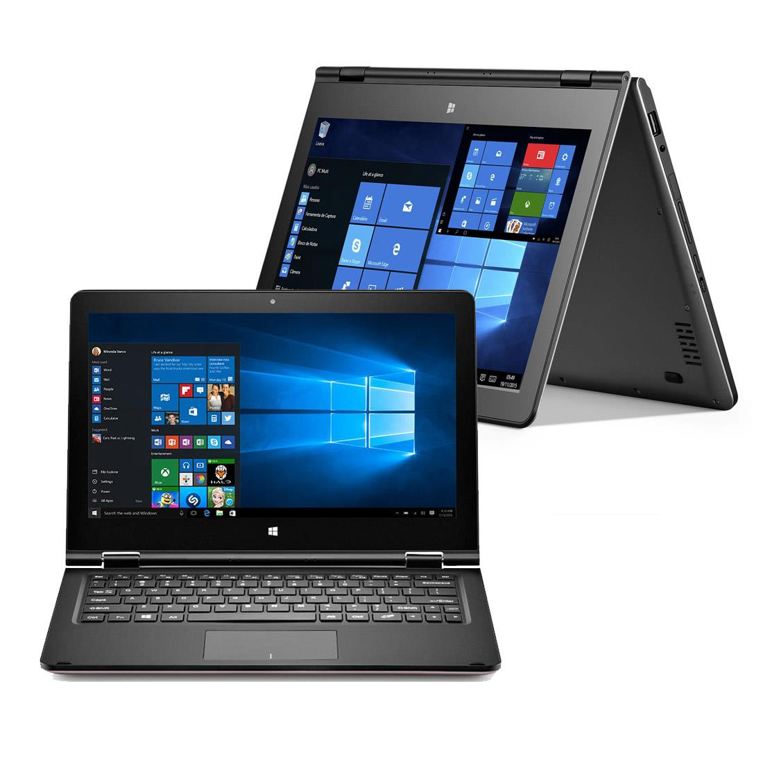 Notebook Multilaser 2 Em1 M11W Nb258 Intel Atom|2Gb|32Gb|11.6 Touch| Cinza