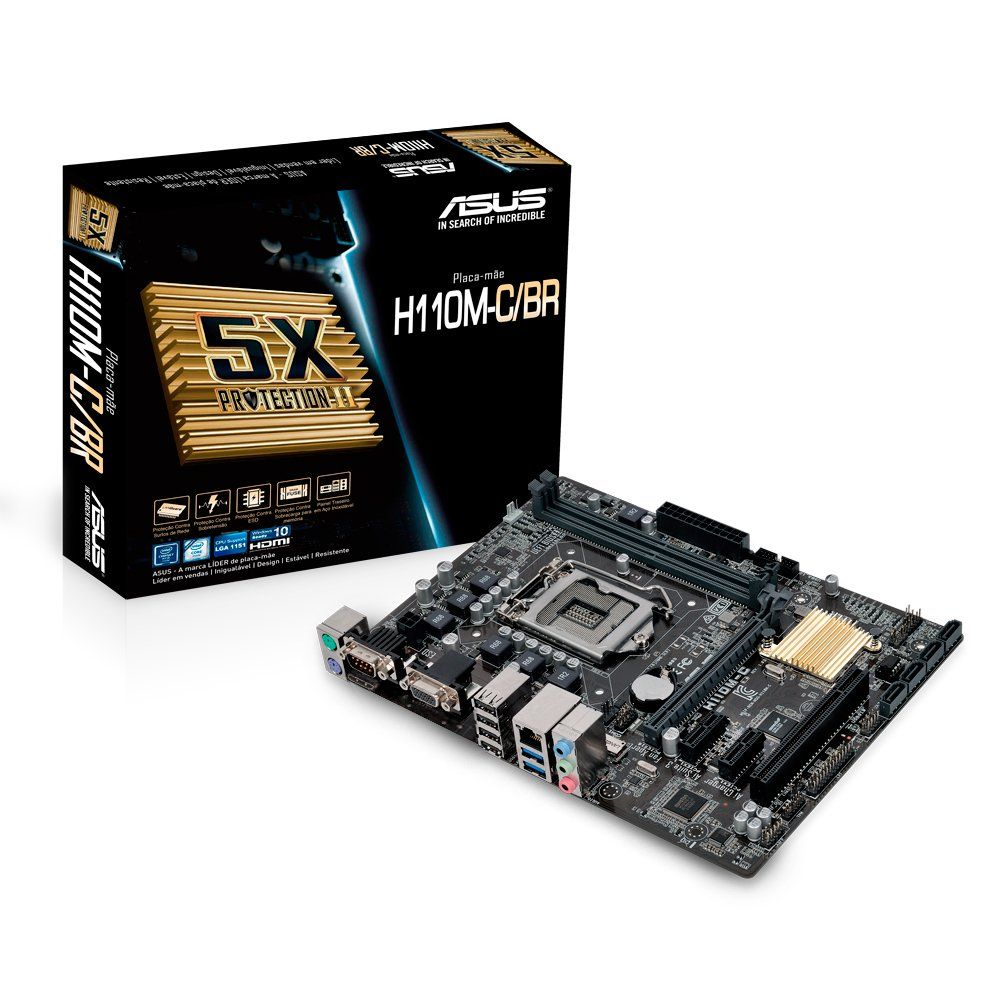 Placa Mae Intel 1151 Asus H110M-C Ddr4/Hdmi/Vga/Serial/Usb 3.0