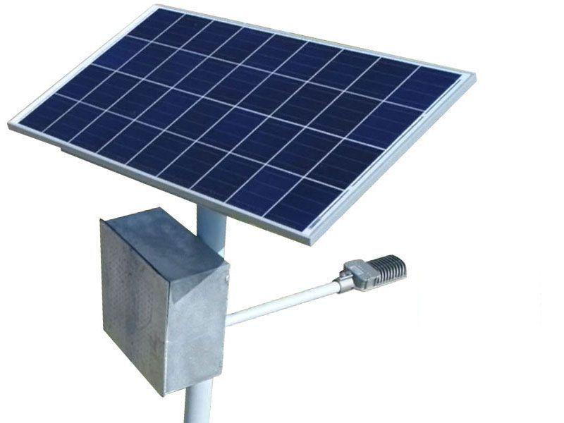 Poste Solar Autonomo Led 15W Painel 55W Bat 90A Bluesolar Victron Alum. S|  Base
