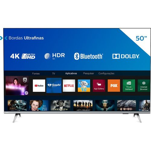 Smart Tv Led 50'' Philips 5Pug6654/78 Ultra Hd 4K 3 Hmdi/2Usb/Wifi