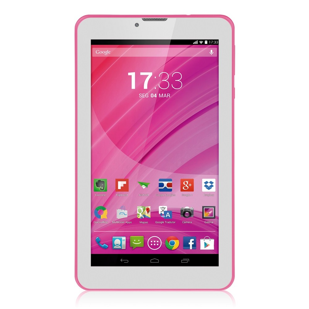 Tablet Multilaser M7-3G Nb225 Quadcore 8Gb Bluetooth Fm Android 4.4 7 Wifi Rosa