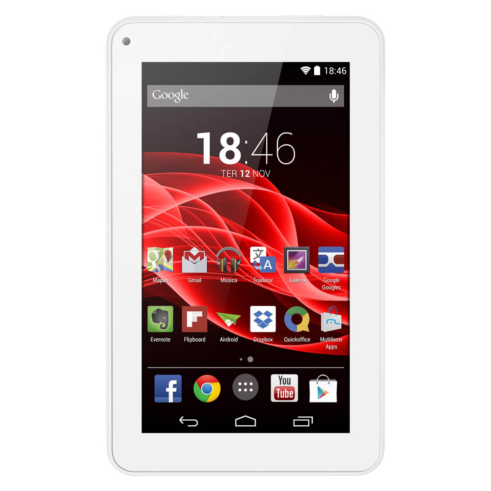 Tablet Multilaser M7S Nb185 Quad Core 8Gb Android 4.4 7 Wifi Branco