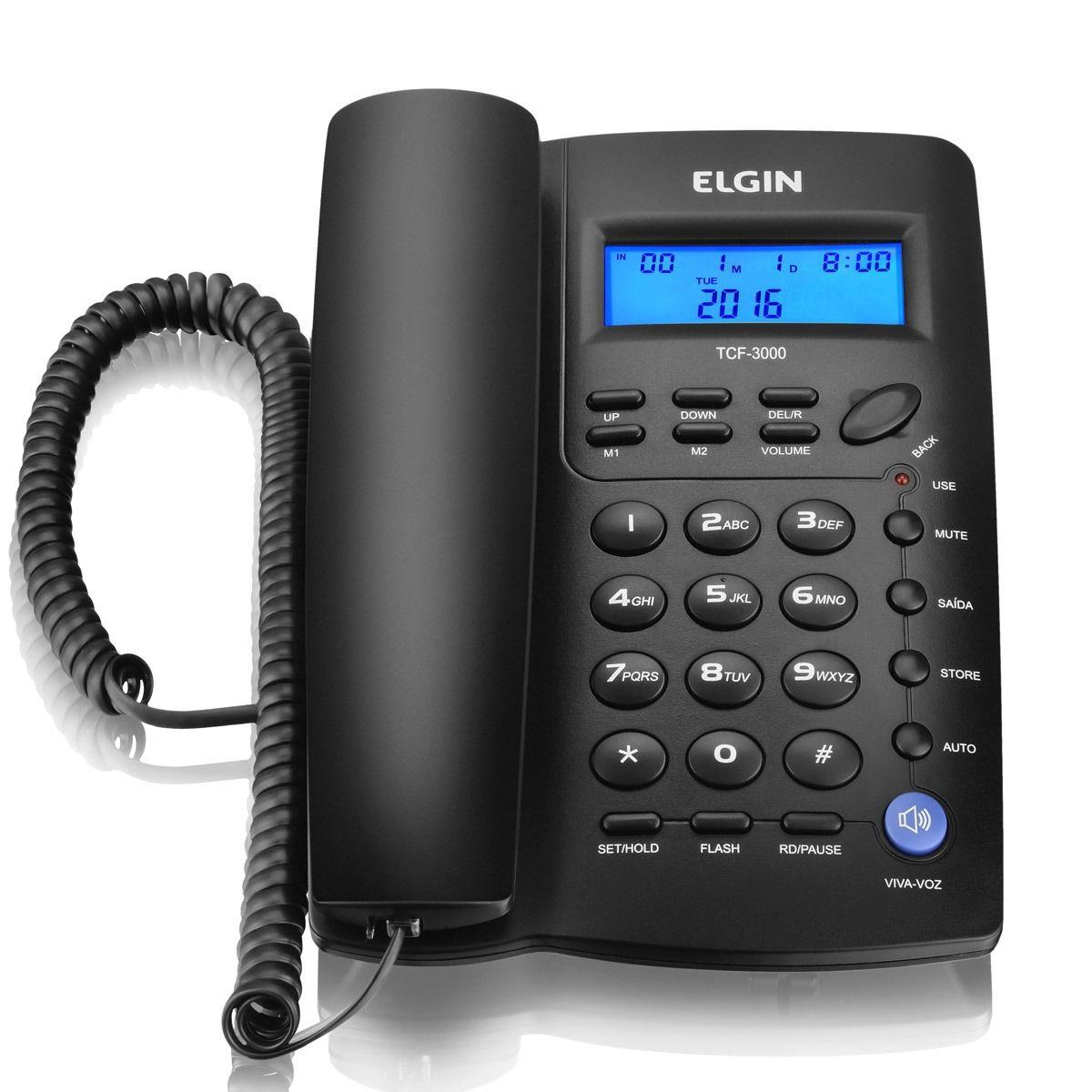 Telefone De Mesa Elgin Tcf3000 Identificador De Chamadas| Viva Voz| Preta