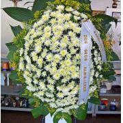 Coroa de Crisântemos Macarrão Branco