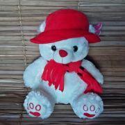 Urso Pelúcia Cachecol Vermelho