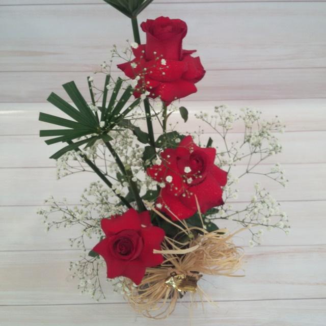 Arranjo 3 rosas carola no cachepô