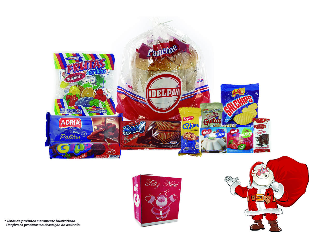 Kit Cesta Natalina Natal Completa 14 Itens Promoção - Mod. 2
