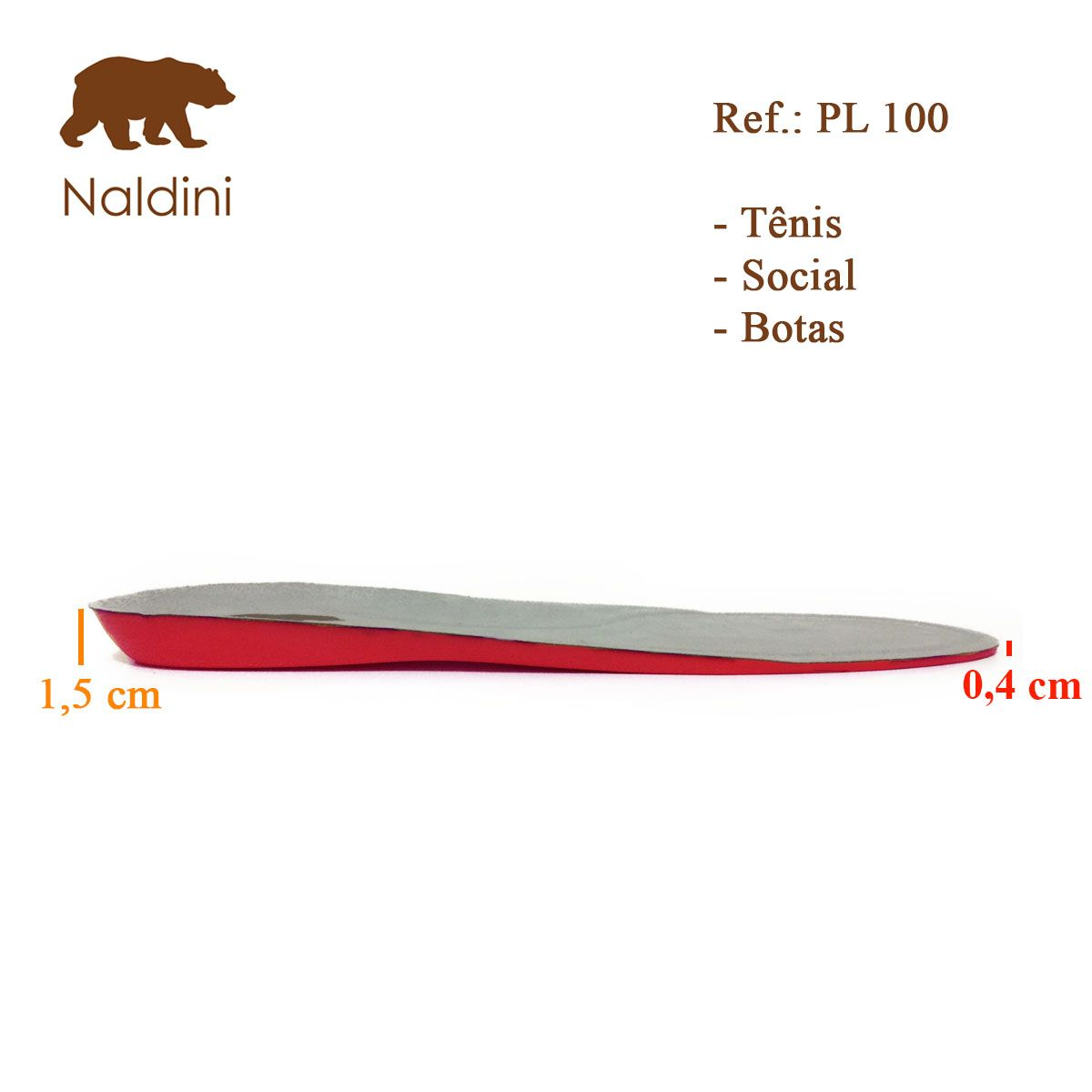 Palmilha em Gel Confortável Anatômica Ortopédica Masculina Naldini PL100