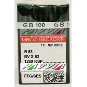 Agulha B 63 ou DV X 63 FFG .80/12 GROZ-BECKERT Pacote com 10 unidades