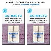 Agulha Máquina De Costura Doméstica 130/705 H Wing Ponto Ajour Kit com 2 Agulhas