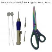 Agulha Para Ponto Russo + Tesoura de Titânio 8,5 pol