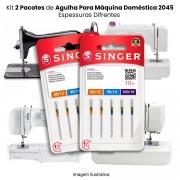 Agulha Singer Para Máquina de Costura Domestica 2045 130/705 Cabo Dourado Kit com 2 Pacotes