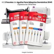 Agulha Singer Para Máquina de Costura Domestica 2045 130/705 Cabo Dourado Kit com 3 Pacotes