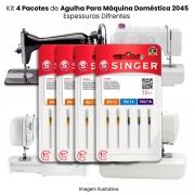 Agulha Singer Para Máquina de Costura Domestica 2045 130/705 Cabo Dourado Kit com 4 Pacotes