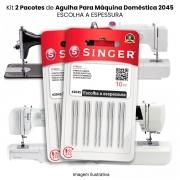 Agulha Singer Para Máquina de Costura Domestica 2045 130/705 (KIT Com 2 Pacotes)