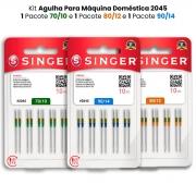 Agulha Singer Para Máquina de Costura Domestica 2045 130/705 Kit com 70/10, 80/12 e 90/14