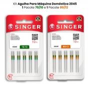 Agulha Singer Para Máquina de Costura Domestica 2045 130/705 Kit com 70/10 e 80/12