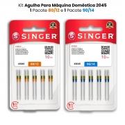 Agulha Singer Para Máquina de Costura Domestica 2045 130/705 Kit com 80/12 e 90/14