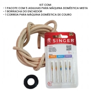Kit 1 Correia de Couro Máquina Doméstica + Borracha + Agulhas 2045 Mista